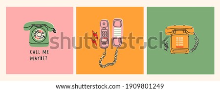 Set of three various phones. Communication device. Classic wired telephone. Retro vintage style Icons. Hand drawn Vector illustration. Pre-made Card or T-shirt Prints Foto stock ©