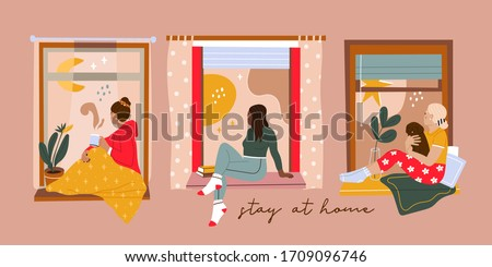 Set of three Various young Ladies looking through window while sitting on windowsill at home. Hand drawn colored Vector illustration. Thinking, meditating, reading concept. Stay at home
