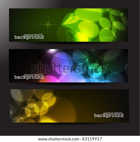 Set of three vector abstract lighting banners/header.