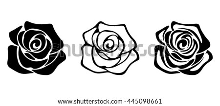 Set of three vector black silhouettes of rose flowers isolated on a white background.