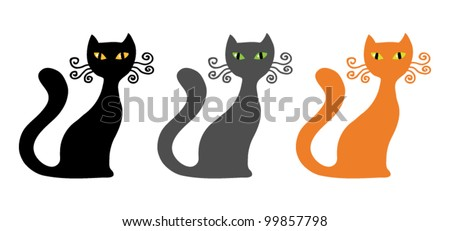 set of three vector cats