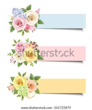 Set of three vector colorful web banners with pink, white, orange and yellow roses and lisianthus flowers and green leaves.