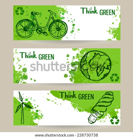 Set of three vector eco banners with green splashes and sketch style elements