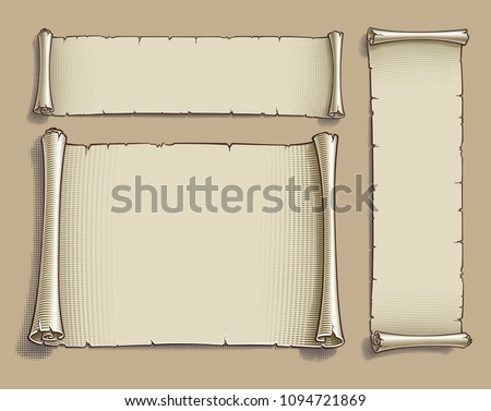 Set of three vector Engraved illustrations of blank scrolls. Each Scroll on separate layer, Lines, Engraving, Highlights, Color and Drop Shadow neatly on groups. Easy to change colors via Global Color