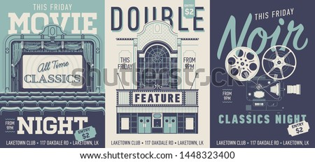 set of three vector movie