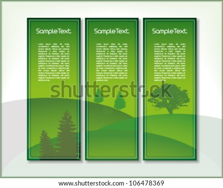 Set of three vertical banners with hills and trees in green with place for Your custom text