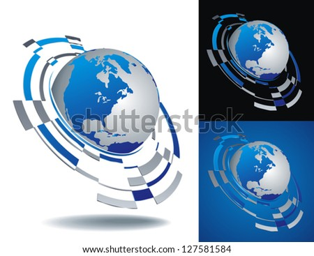 set of three view of abstract Earth globe on white, black and blue background