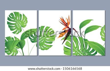 set of three wall paintings