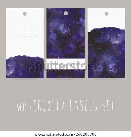 set of three watercolor labels