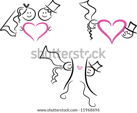 stock vector Set of three wedding marriage love icons in lineart