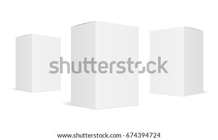 Set of three white blank boxes isolated. Mockup for design or branding. Vector illustration