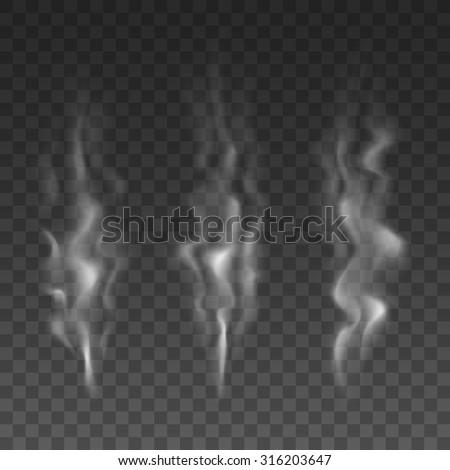 set of three white smoke waves