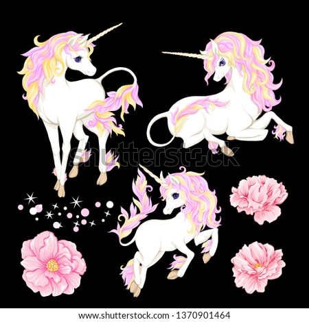 set of three white unicorn with