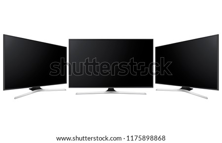 Set of three wide television screens mock up isolated on white background. Vector illustration