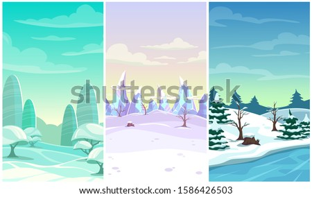 set of three winter vertical