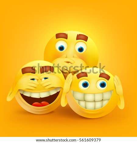 set of three yellow smiley
