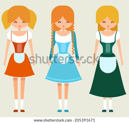 set of three young girls in
