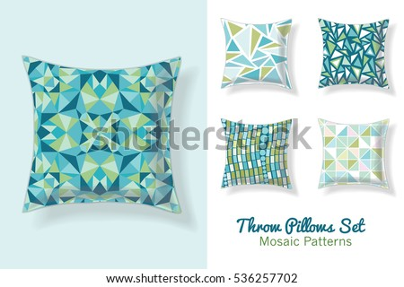 set of throw pillows in