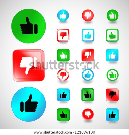 Set of Thumbs Up and Down icons Isolated on gray background - Vector illustration, Graphic Design, Logo Symbol