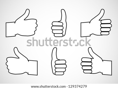 Set Of Thumbs Up Icons - Isolated On Gray - White Background - Vector illustration, Graphic Design Useful For Your Web Design. Logo Symbol