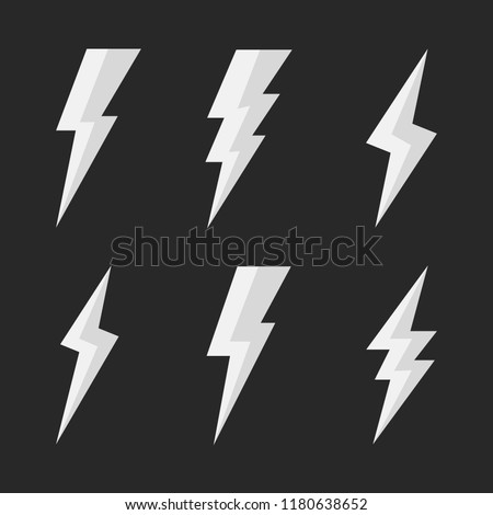 Set of 6 thunderbolts icons. Lightning icons isolated on black background. Vector illustration