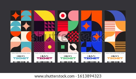 Set of ticket vector template layout with abstract pattern design graphics made with simple shapes and forms. Useful for creating invitations, banners, posters, flyers, prints, labels, etc.