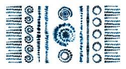 Set of tie dye art brushes. Print in Shibori style. Ribbon ornament, ribbon, border. Ethnic jewelry. Fashion embroidery for women's clothing. Elements of batik on fabric.