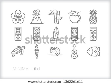 Set of 15 tiki line icons of Hawaiian and Polynesian themed items including mugs, surf board, volcano, ukulele, ocean wave, pineapple and coconut drink