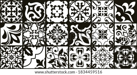 Set of 18 tiles Azulejos in black, white. Original traditional Portuguese and Spain decor. Seamless patchwork tile with Victorian motives. Ceramic tile in talavera style. Gaudi mosaic. Vector