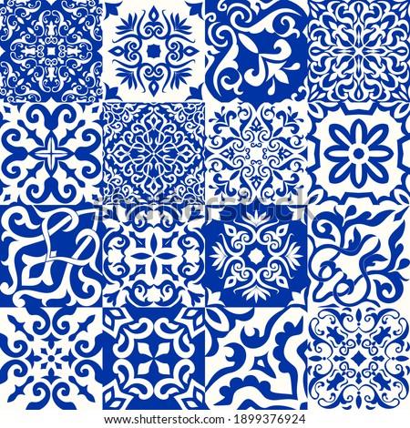 set of 16 tiles azulejos in