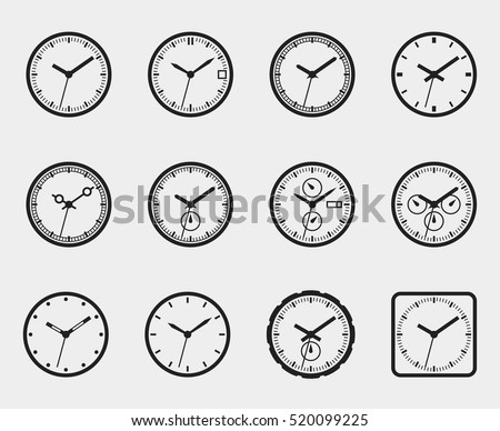 Set of time icons. Clock face without numbers. Vector illustration