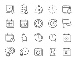 set of time relation vector line icon, such as calendar, reminder, day, year, event