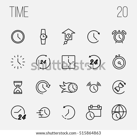Set of Time Simple Vector Line Icons. Contains such Icons as Timer, Speed, Alarm, Restore, Time Management, Calendar and more. Editable Stroke. Vector Illustration on a White Background.
