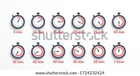 Set of timer icons, sign, symbol. Stopwatch isolated set icons. Time from 5 minutes to 1 hour. Vector illustration. EPS 10 Stockfoto ©