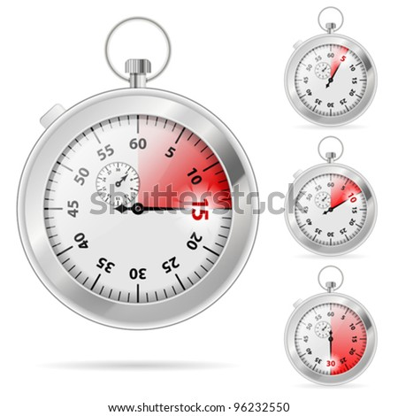 Set of Timers with Various Indications the Time, vector illustration
