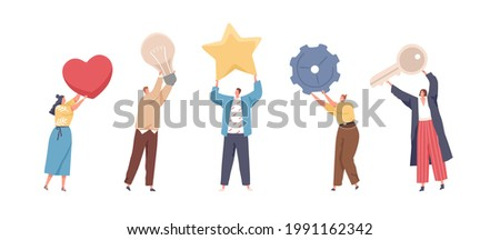 Set of tiny people holding big heart, light bulb, star, gear and key. Men and women standing with different huge items and tools. Colored flat vector illustration isolated on white background