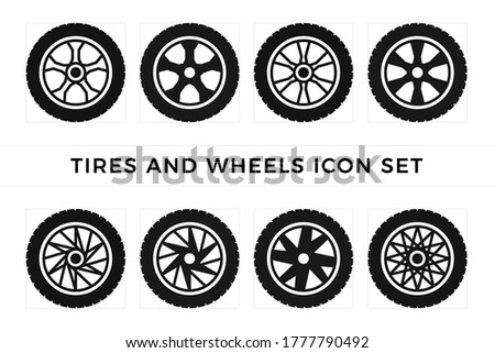 Set of tires and wheels icon vector Photo stock ©