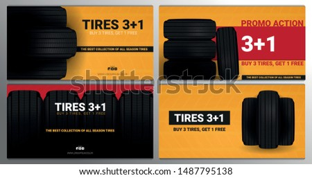 Set of Tires car advertisement posters. Black rubber tire on the background with wheel tire tracks