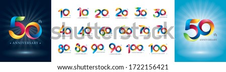 Set of 10 to 100th Anniversary logotype design, Colorful Twist Ribbons Logo, Origami stylized Number Letters, Anniversary Logo for celebration event, invitation, greeting, Party,Fashion, Entertainment