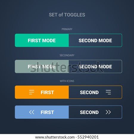 Set of toggle colorful buttons. Dark background