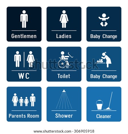 Bathroom Signs Eps vector images, illustrations and cliparts: set of toilette and