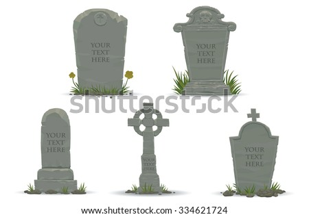 Set of Tombstones are made from stone and looking very old, vector Stock photo ©