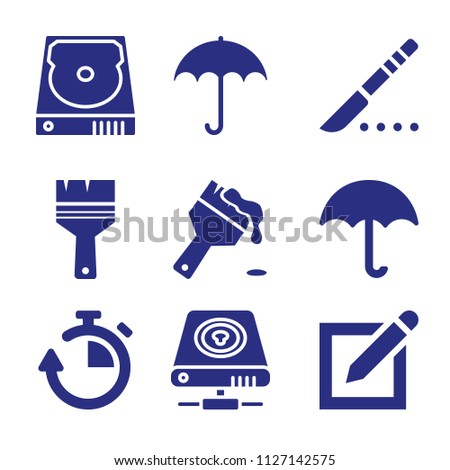 Set of 9 tool filled icons such as pen on square of paper interface symbol, scalpel, brush with fresh painting, paint brush, umbrella filled shape, umbrella filled opened tool