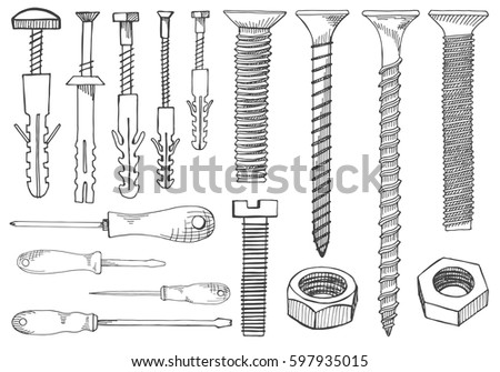 Set Of Tools And Fasteners Screwdriver Wrench Spanner Hex Key Screw