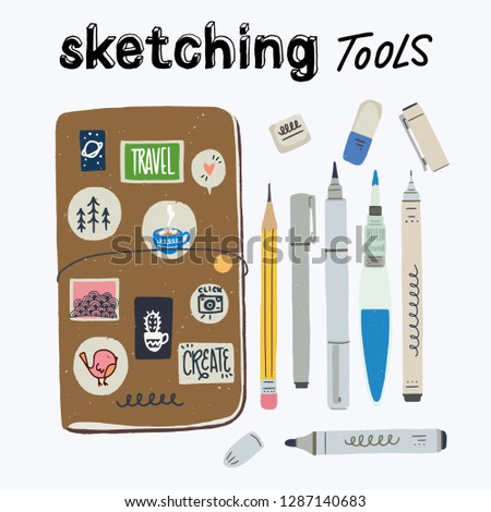 Set of tools for urban sketching. Travel journaling essentials - sketchbook in cover, water brush, pencil, eraser, liner, brush pen, marker. Cartoon vector icons on white background.