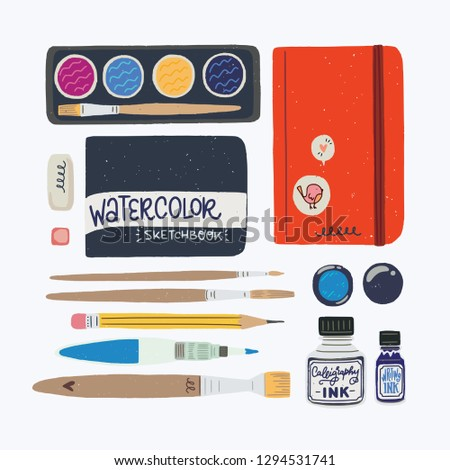 Set of tools for watercolor sketching. Travel journaling essentials - sketchbook in cover, water brush, palette, pencil, eraser, liner, brush pen, marker. Flat style vector illustrations.