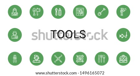 Set of tools icons such as Builder, Tools, Paint tools, Service, Shovel, Musical, Plier, Support, Dentist Tool, Kitchen Seed, Craftsman, Fishing ,