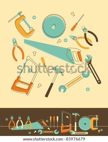 Set of Tools in Retro-Styled