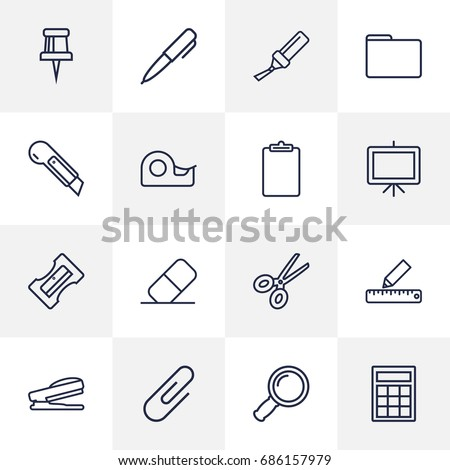 Set Of 16 Tools Outline Icons Set.Collection Of Paper Clamp, Scissors, Portfolio And Other Elements.