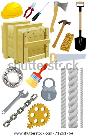 Set of tools. Vector